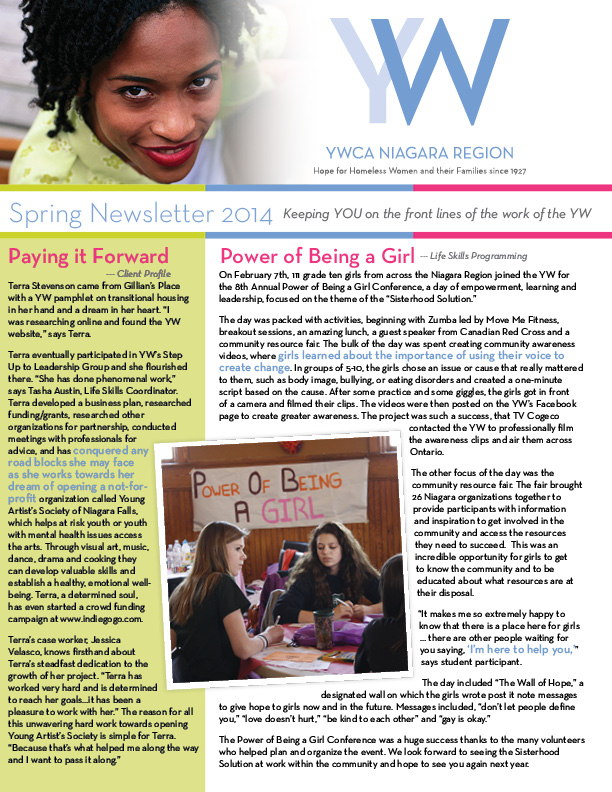 YWCA Spring e-Newsletter